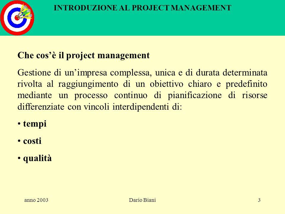 anno 2003Dario Biani153 INTRODUZIONE AL PROJECT MANAGEMENT Controllo del progetto Obiettivi controllo avanzamento del lavoro controllo dei costi analisi degli scostamenti rispetto al piano di riferimento corrente (ultimo piano concordato con il Committente) azioni correttive