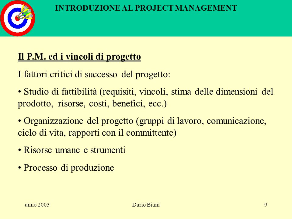 anno 2003Dario Biani169 INTRODUZIONE AL PROJECT MANAGEMENT Controllo del progetto - metodo earned value I costi sostenuti per realizzare il prodotto sono ACWP (actual cost of work performed) = 44 mil.