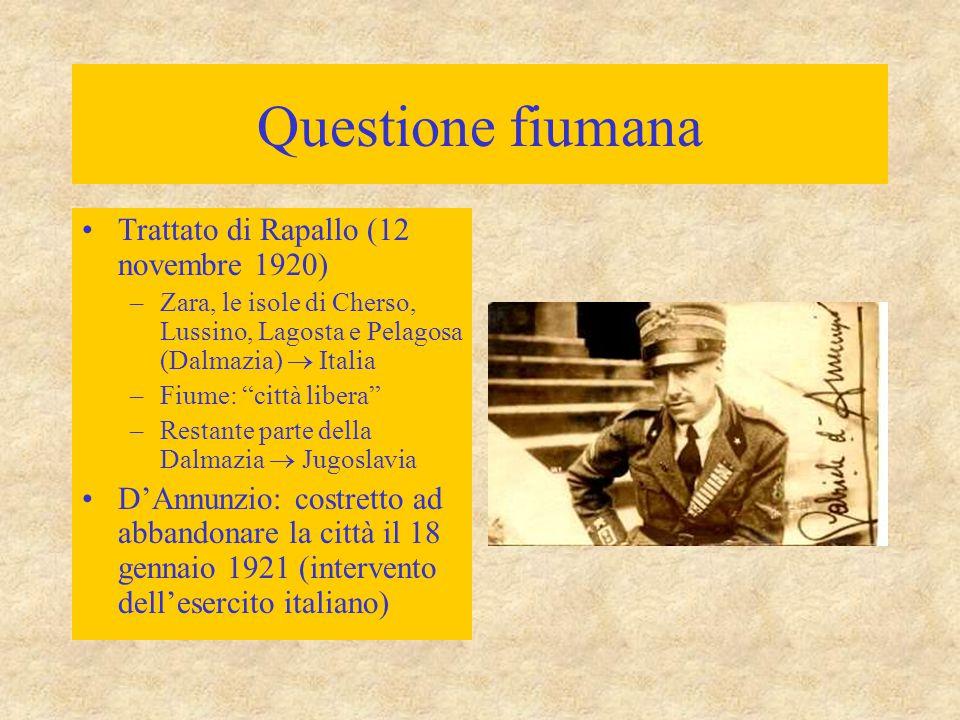 """Questione fiumana Trattato di Rapallo (12 novembre 1920) –Zara, le isole di Cherso, Lussino, Lagosta e Pelagosa (Dalmazia)  Italia –Fiume: """"città lib"""