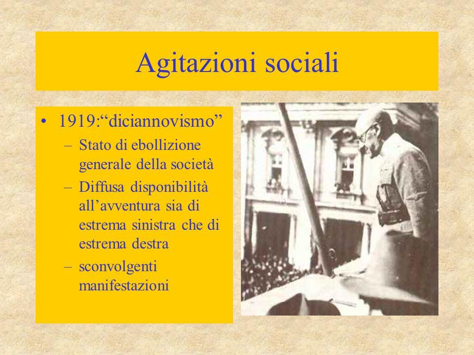 """Agitazioni sociali 1919:""""diciannovismo"""" –Stato di ebollizione generale della società –Diffusa disponibilità all'avventura sia di estrema sinistra che"""