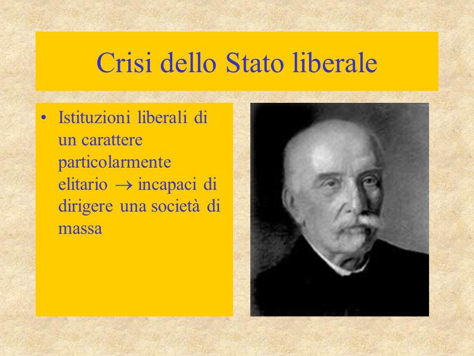 Crisi dello Stato liberale Istituzioni liberali di un carattere particolarmente elitario  incapaci di dirigere una società di massa