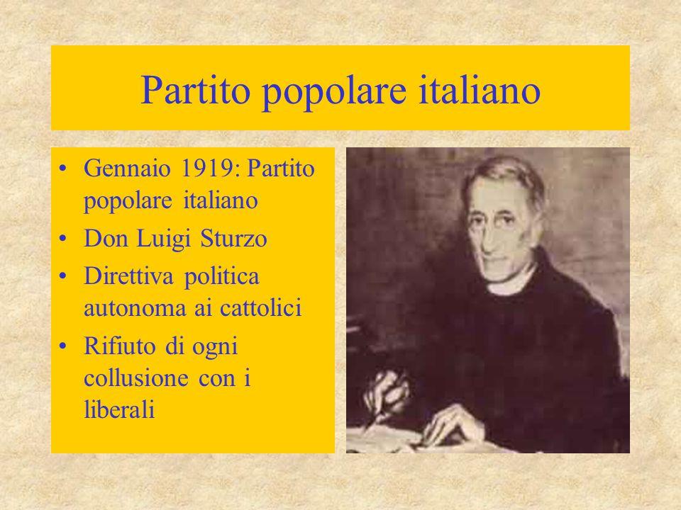 Partito popolare italiano Gennaio 1919: Partito popolare italiano Don Luigi Sturzo Direttiva politica autonoma ai cattolici Rifiuto di ogni collusione