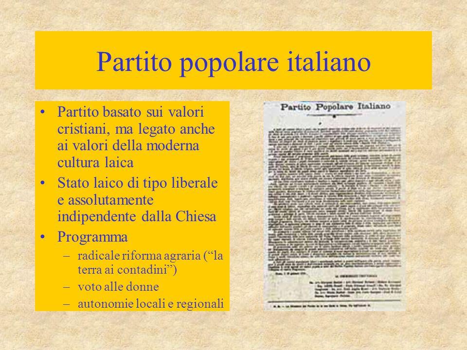 Partito popolare italiano Partito basato sui valori cristiani, ma legato anche ai valori della moderna cultura laica Stato laico di tipo liberale e as
