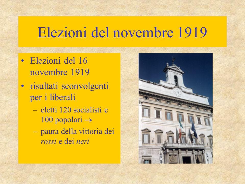 Elezioni del novembre 1919 Elezioni del 16 novembre 1919 risultati sconvolgenti per i liberali –eletti 120 socialisti e 100 popolari  –paura della vi