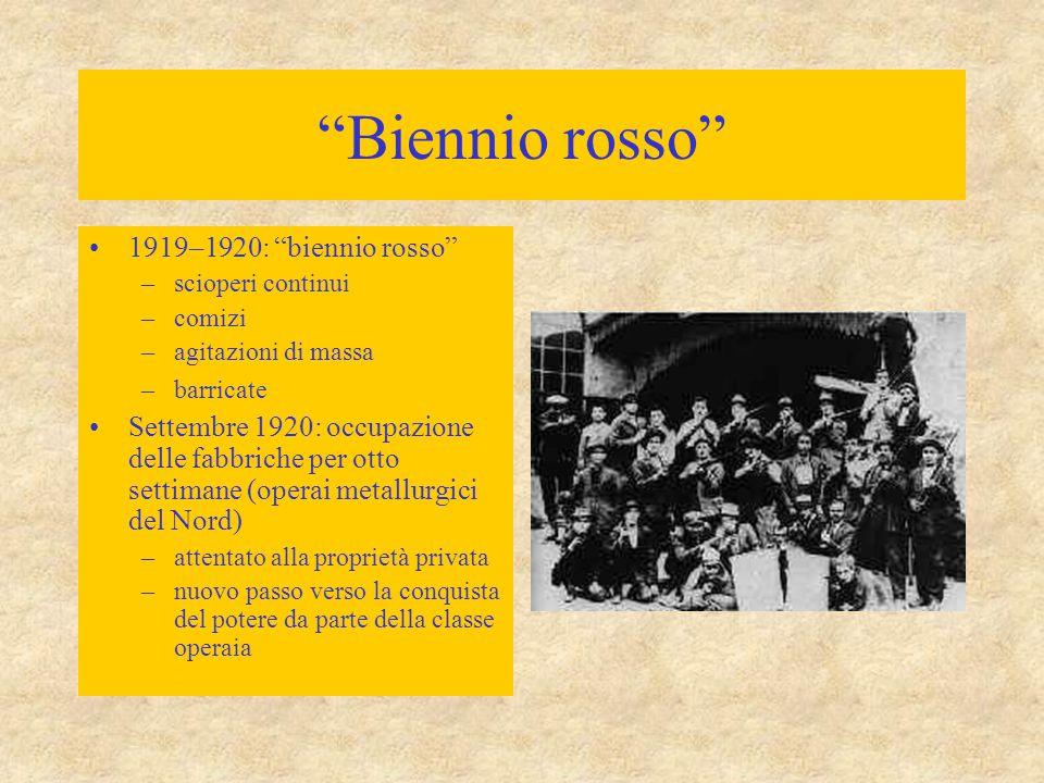 """""""Biennio rosso"""" 1919–1920: """"biennio rosso"""" –scioperi continui –comizi –agitazioni di massa –barricate Settembre 1920: occupazione delle fabbriche per"""
