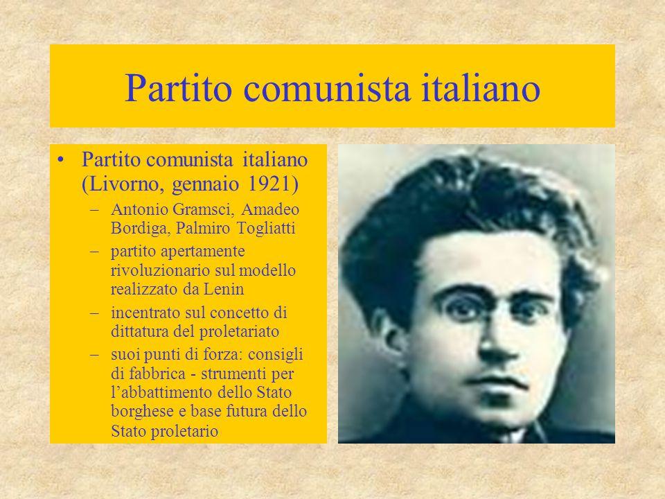 Partito comunista italiano Partito comunista italiano (Livorno, gennaio 1921) –Antonio Gramsci, Amadeo Bordiga, Palmiro Togliatti –partito apertamente