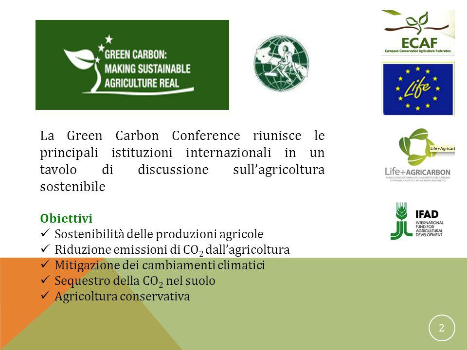2 Green Carbon Conference La Green Carbon Conference riunisce le principali istituzioni internazionali in un tavolo di discussione sull'agricoltura sostenibile Obiettivi Sostenibilità delle produzioni agricole Riduzione emissioni di CO 2 dall'agricoltura Mitigazione dei cambiamenti climatici Sequestro della CO 2 nel suolo Agricoltura conservativa