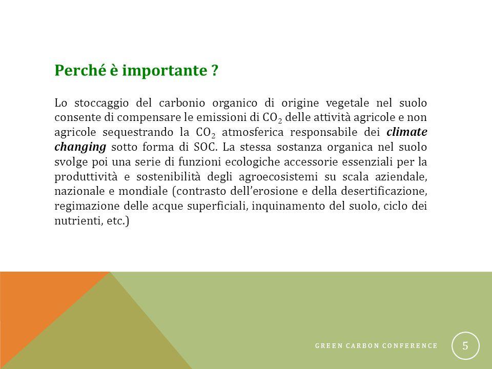 GREEN CARBON CONFERENCE 6 Perché conservare la SOC ?