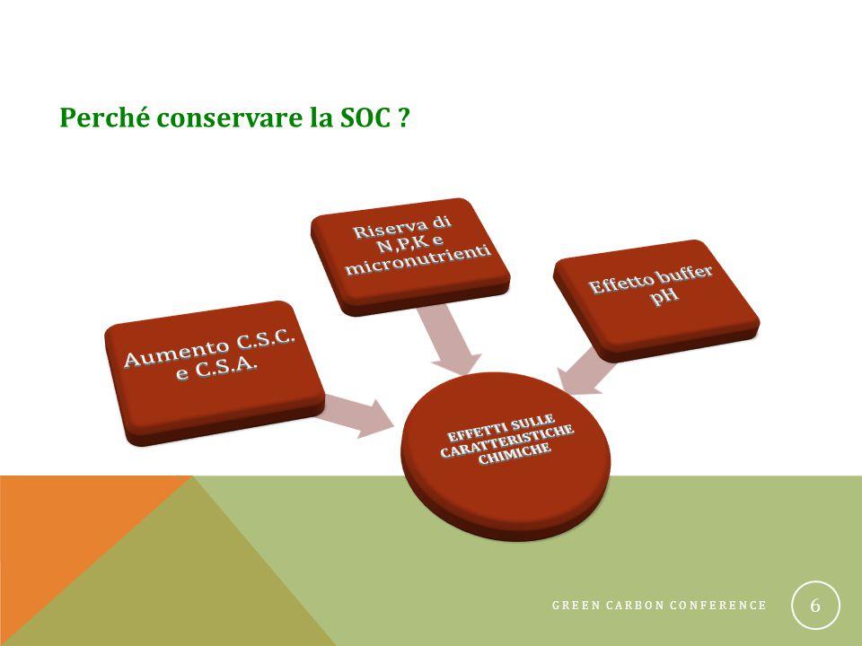 GREEN CARBON CONFERENCE 7 Tipo di colloideCEC (cmol(+)/kg) Humus560 - 1420 SOM500 Caolinite2 - 15 Montmorillonite80 - 150 Clorite10 - 40 Vermiculite triottaedrica 100 - 200 Vermiculite diottaedrica 10 - 150 Allofane3 - 250 Gibbsite4 Goethite4 La sostanza organica del suolo presenta una elevata C.S.C.