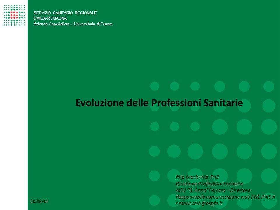 SERVIZIO SANITARIO REGIONALE EMILIA-ROMAGNA Azienda Ospedaliero – Universitaria di Ferrara Evoluzione delle Professioni Sanitarie Rita Maricchio PhD D