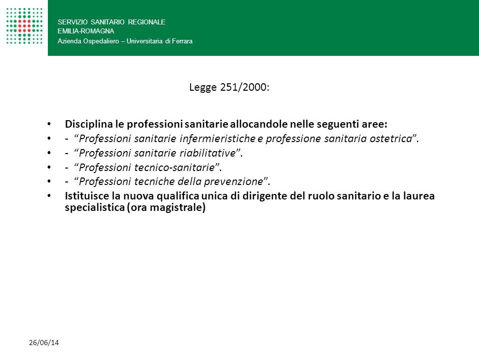 SERVIZIO SANITARIO REGIONALE EMILIA-ROMAGNA Azienda Ospedaliero – Universitaria di Ferrara Disciplina le professioni sanitarie allocandole nelle segue