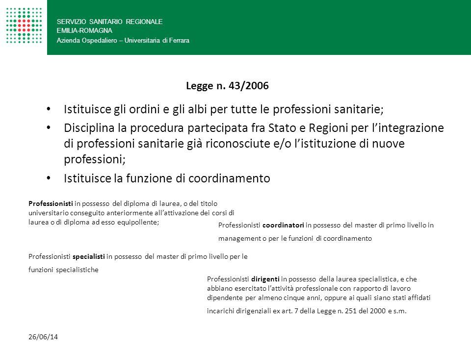 SERVIZIO SANITARIO REGIONALE EMILIA-ROMAGNA Azienda Ospedaliero – Universitaria di Ferrara Istituisce gli ordini e gli albi per tutte le professioni s