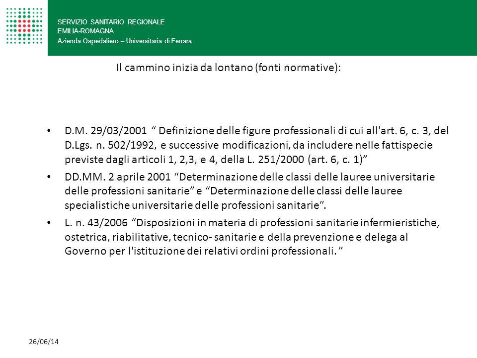 """SERVIZIO SANITARIO REGIONALE EMILIA-ROMAGNA Azienda Ospedaliero – Universitaria di Ferrara D.M. 29/03/2001 """" Definizione delle figure professionali di"""