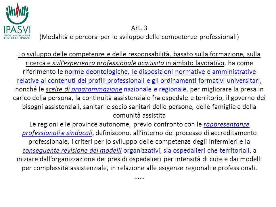 Art. 3 (Modalità e percorsi per lo sviluppo delle competenze professionali) Lo sviluppo delle competenze e delle responsabilità, basato sulla formazio