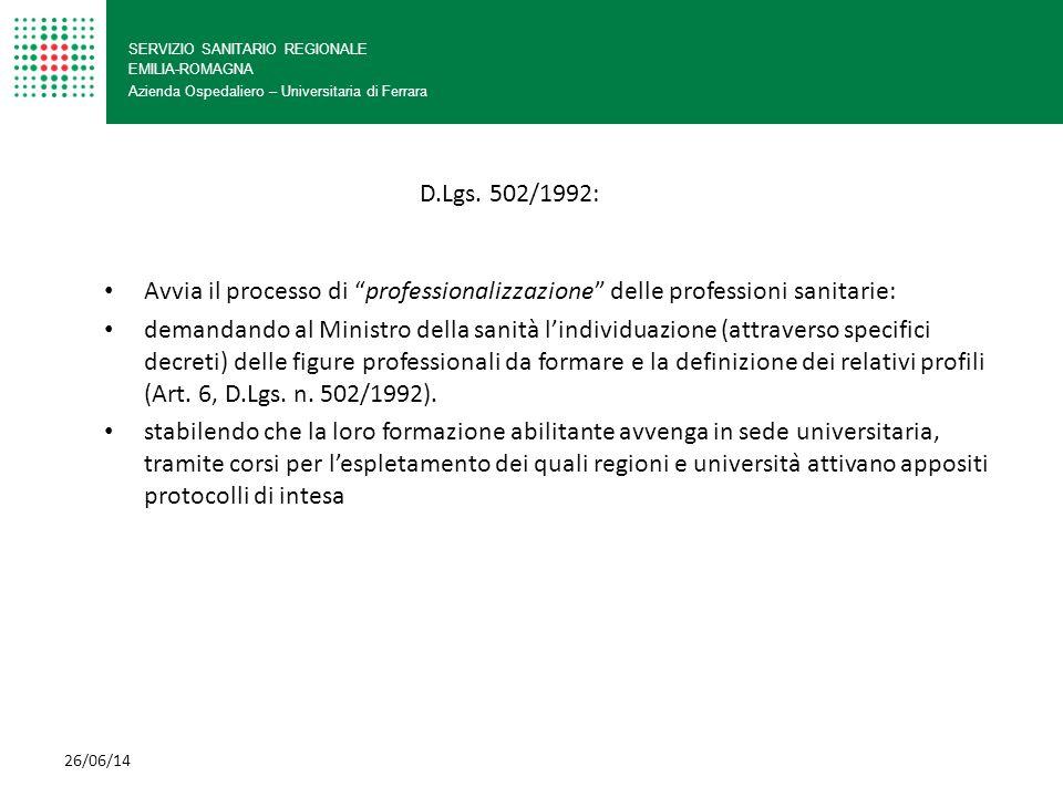 SERVIZIO SANITARIO REGIONALE EMILIA-ROMAGNA Azienda Ospedaliero – Universitaria di Ferrara 26/06/14 Il cammino inizia da lontano: Mansionario: atto regolamentare di carattere D.P.R.