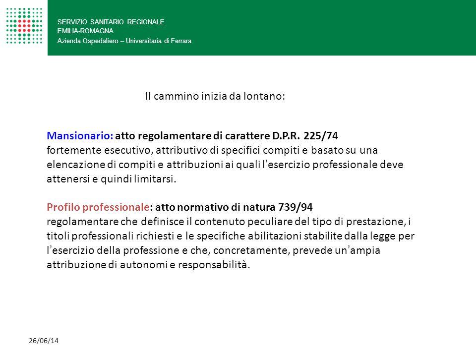 SERVIZIO SANITARIO REGIONALE EMILIA-ROMAGNA Azienda Ospedaliero – Universitaria di Ferrara Profilo professionale D.M.