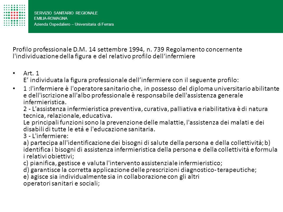 SERVIZIO SANITARIO REGIONALE EMILIA-ROMAGNA Azienda Ospedaliero – Universitaria di Ferrara Profilo professionale D.M. 14 settembre 1994, n. 739 Regola