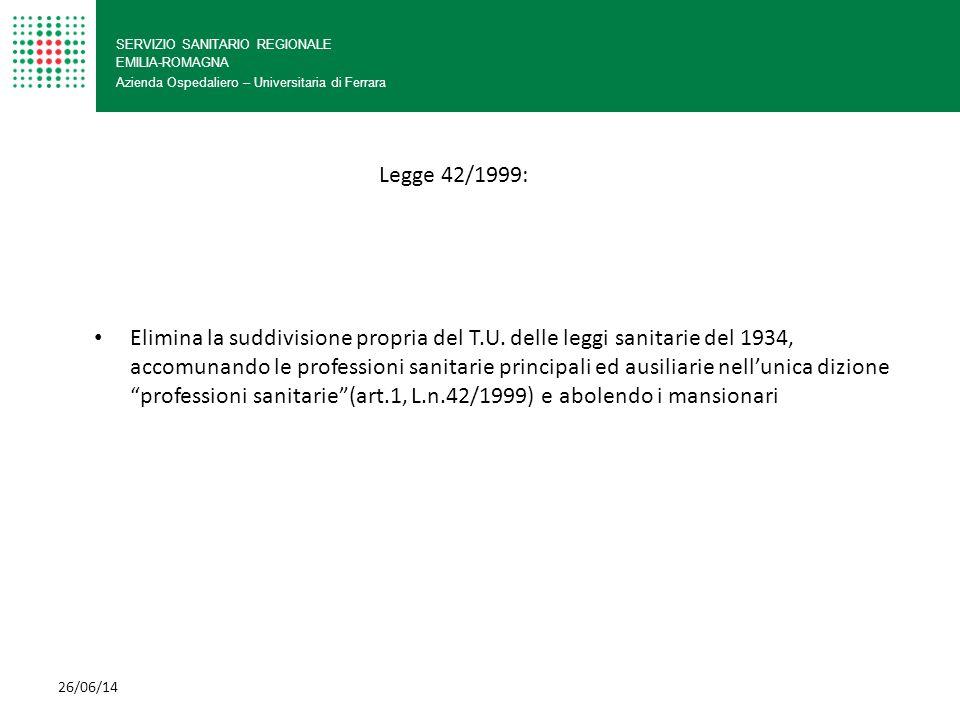 SERVIZIO SANITARIO REGIONALE EMILIA-ROMAGNA Azienda Ospedaliero – Universitaria di Ferrara Non c'è più un elenco dettagliato di mansioni, ma si deve fare riferimento: al profilo dell'infermiere (DM 739/94) al contenuto degli ordinamenti didattici (DL 2 aprile 2001 al Codice deontologico UNICO LIMITE - fatte salve le competenze previste per le professioni mediche e per le altre professioni del ruolo sanitario 26/06/14 Legge 42/1999: