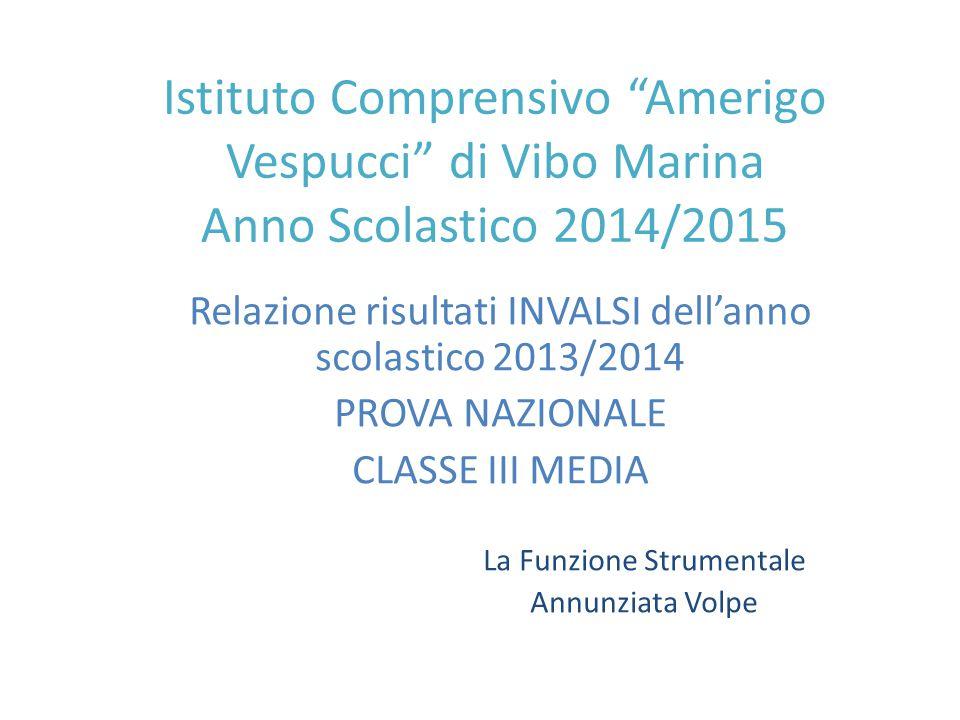 """Istituto Comprensivo """"Amerigo Vespucci"""" di Vibo Marina Anno Scolastico 2014/2015 Relazione risultati INVALSI dell'anno scolastico 2013/2014 PROVA NAZI"""