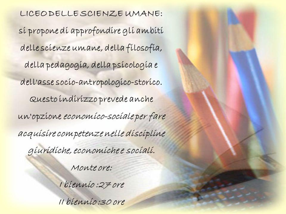 Liceo delle scienze applicate Le scuole potranno attivare l opzione scientifico tecnologico che approfondisce conoscenze di teorie scientifiche e di processi tecnologici.