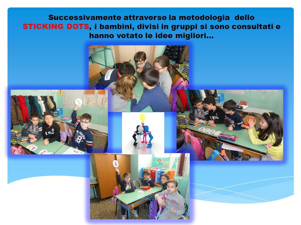 Successivamente attraverso la metodologia dello STICKING DOTS, i bambini, divisi in gruppi si sono consultati e hanno votato le idee migliori…