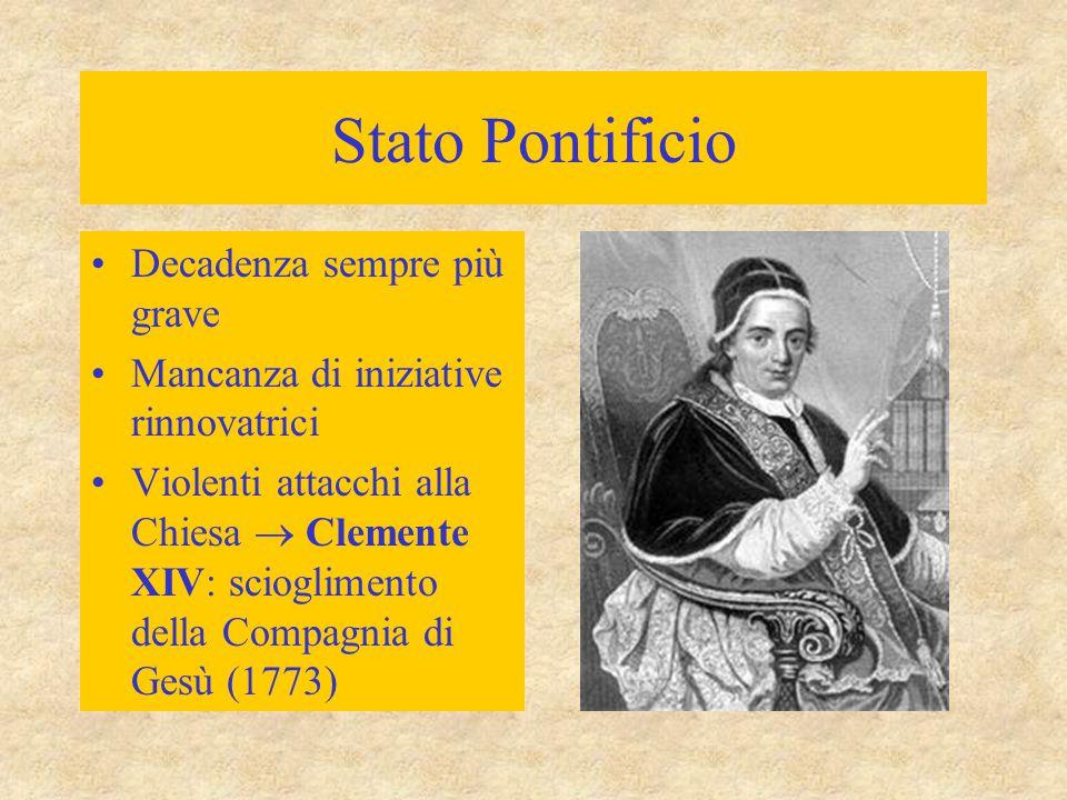 Stato Pontificio Decadenza sempre più grave Mancanza di iniziative rinnovatrici Violenti attacchi alla Chiesa  Clemente XIV: scioglimento della Compa