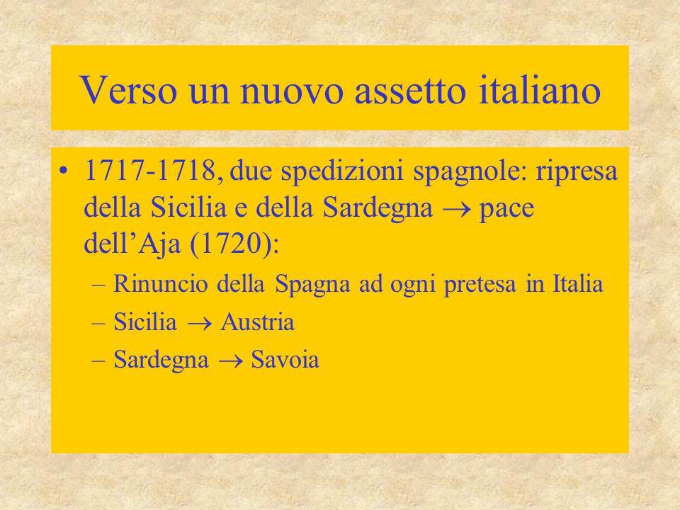 Verso un nuovo assetto italiano 1717-1718, due spedizioni spagnole: ripresa della Sicilia e della Sardegna  pace dell'Aja (1720): –Rinuncio della Spa