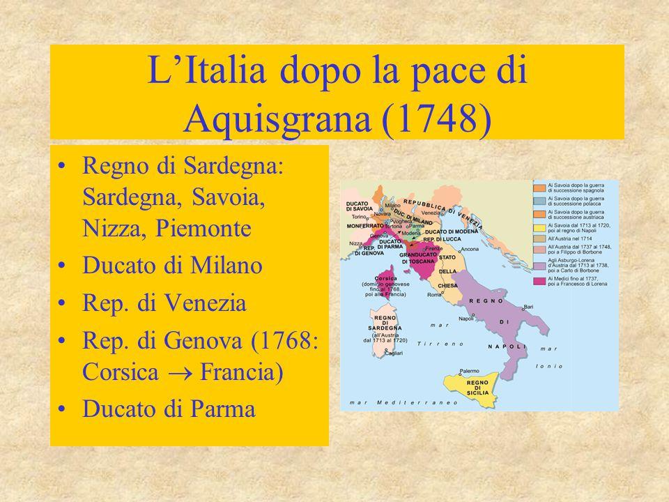 L'Italia dopo la pace di Aquisgrana (1748) Regno di Sardegna: Sardegna, Savoia, Nizza, Piemonte Ducato di Milano Rep. di Venezia Rep. di Genova (1768: