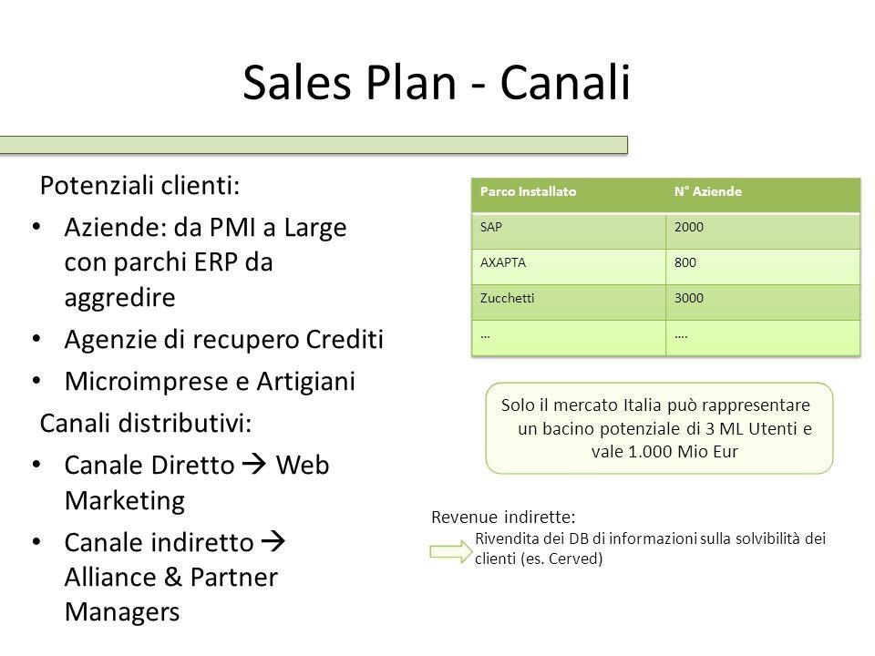 Sales Plan - Canali Potenziali clienti: Aziende: da PMI a Large con parchi ERP da aggredire Agenzie di recupero Crediti Microimprese e Artigiani Canal