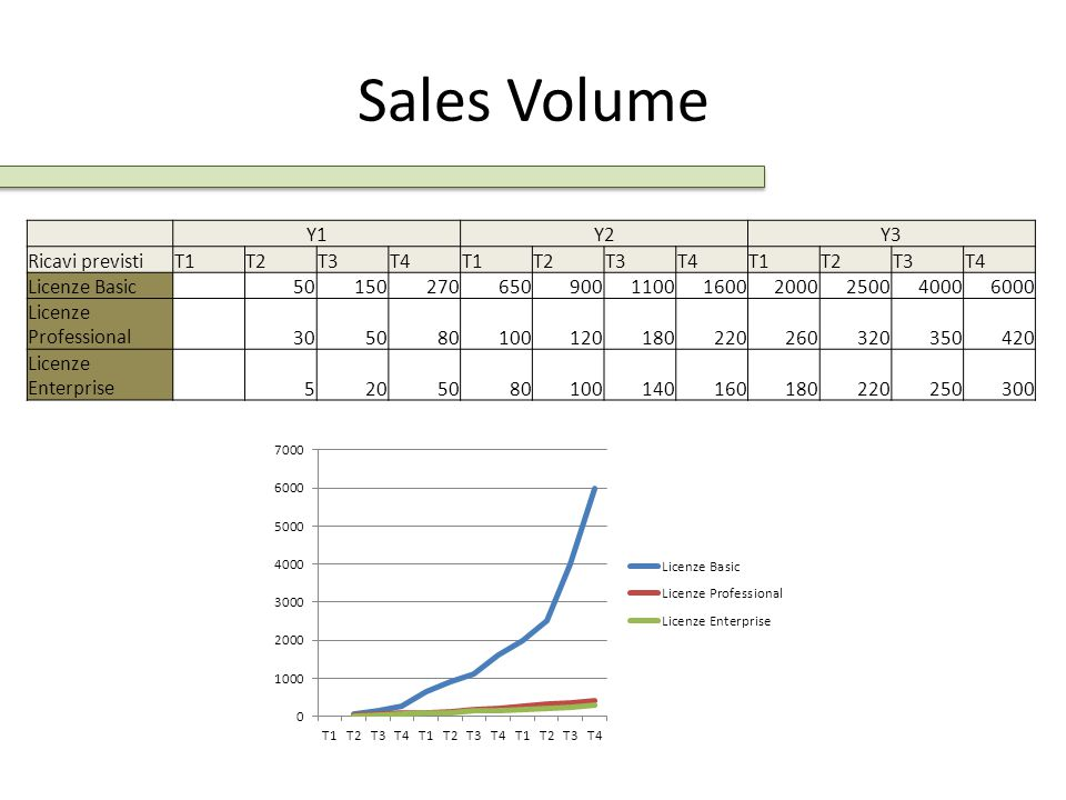 Sales Volume Y1Y2Y3 Ricavi previstiT1T2T3T4T1T2T3T4T1T2T3T4 Licenze Basic 50150270650900110016002000250040006000 Licenze Professional 305080100120180220260320350420 Licenze Enterprise 5205080100140160180220250300