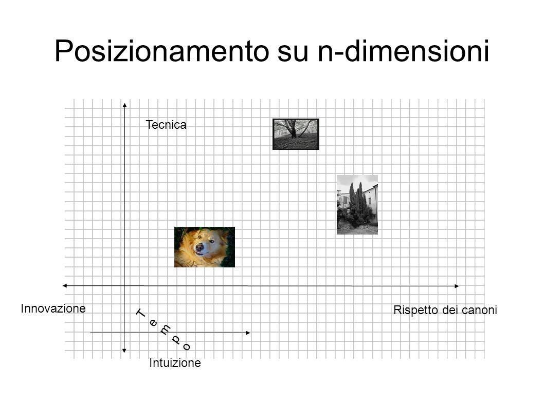 Posizionamento su n-dimensioni Innovazione Rispetto dei canoni Intuizione Tecnica TempoTempo