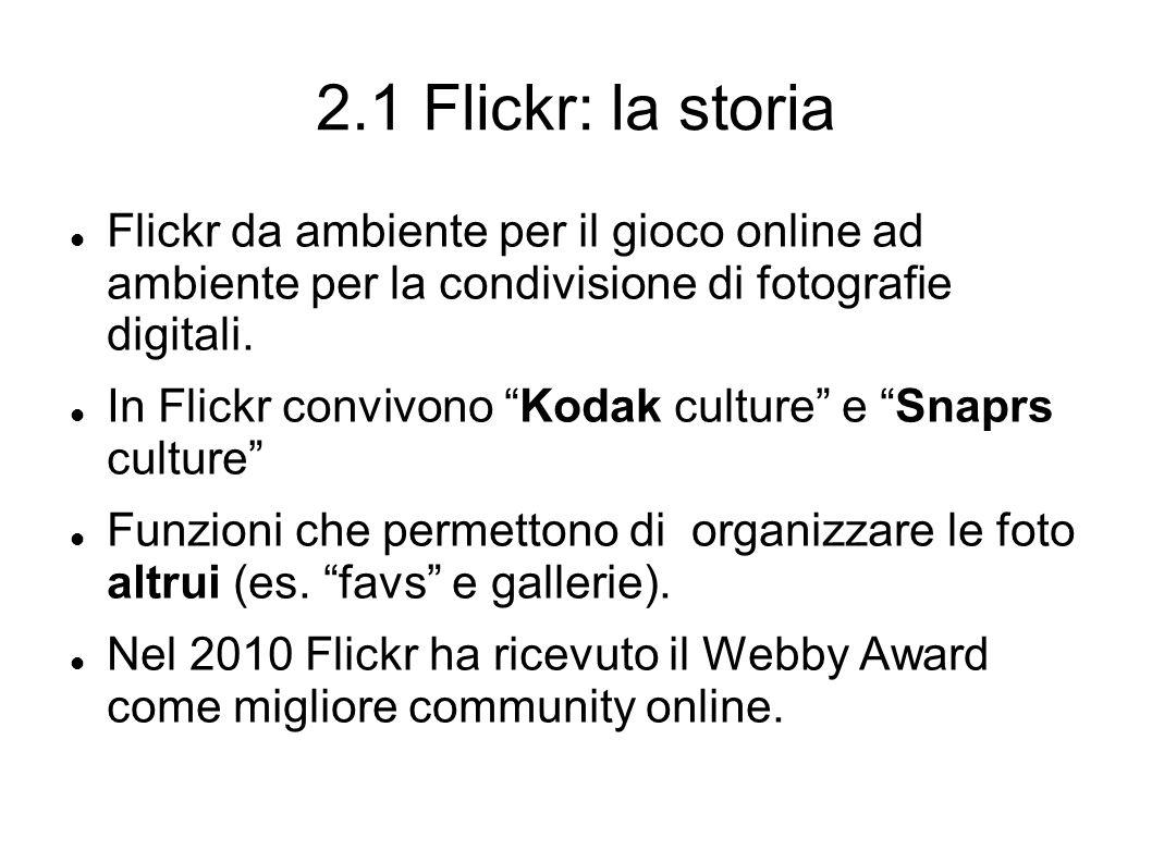 2.1 Flickr: la storia Flickr da ambiente per il gioco online ad ambiente per la condivisione di fotografie digitali.