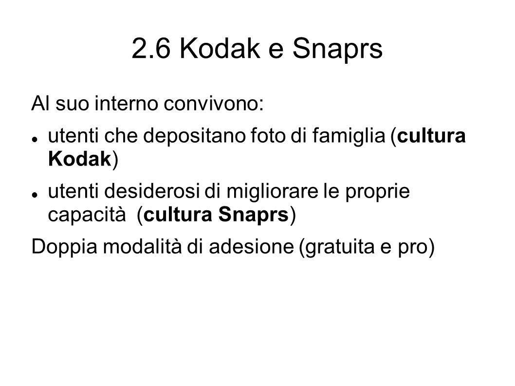 2.6 Kodak e Snaprs Al suo interno convivono: utenti che depositano foto di famiglia (cultura Kodak) utenti desiderosi di migliorare le proprie capacità (cultura Snaprs) Doppia modalità di adesione (gratuita e pro)