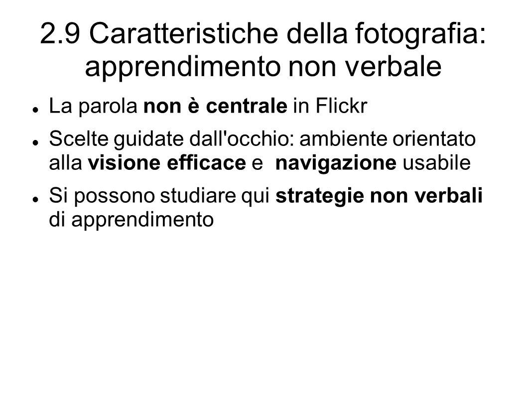 2.9 Caratteristiche della fotografia: apprendimento non verbale La parola non è centrale in Flickr Scelte guidate dall occhio: ambiente orientato alla visione efficace e navigazione usabile Si possono studiare qui strategie non verbali di apprendimento