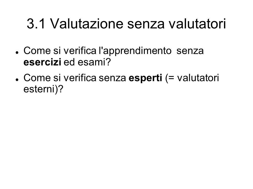 3.1 Valutazione senza valutatori Come si verifica l apprendimento senza esercizi ed esami.