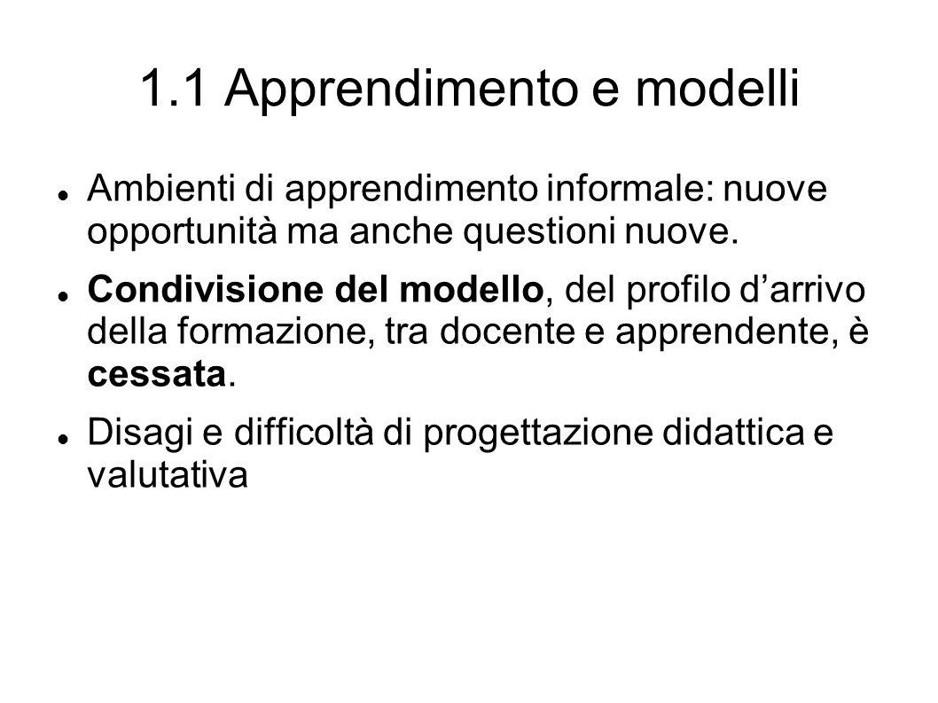 1.1 Apprendimento e modelli Ambienti di apprendimento informale: nuove opportunità ma anche questioni nuove.