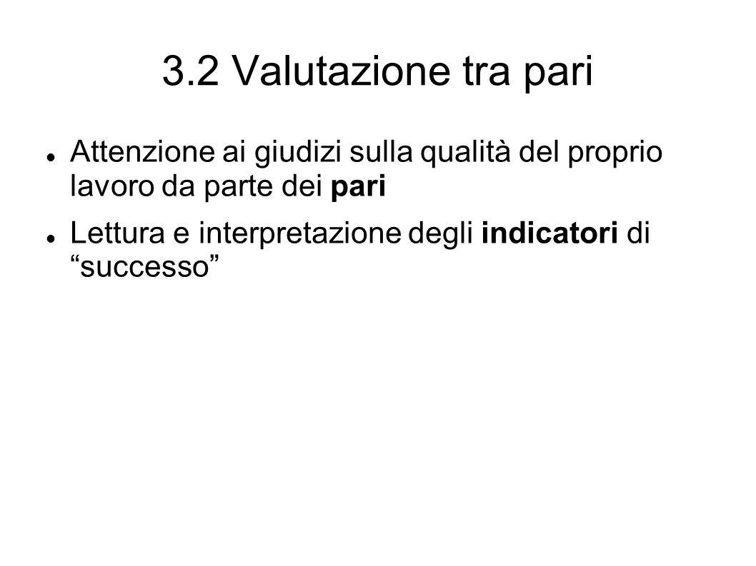 3.2 Valutazione tra pari Attenzione ai giudizi sulla qualità del proprio lavoro da parte dei pari Lettura e interpretazione degli indicatori di successo