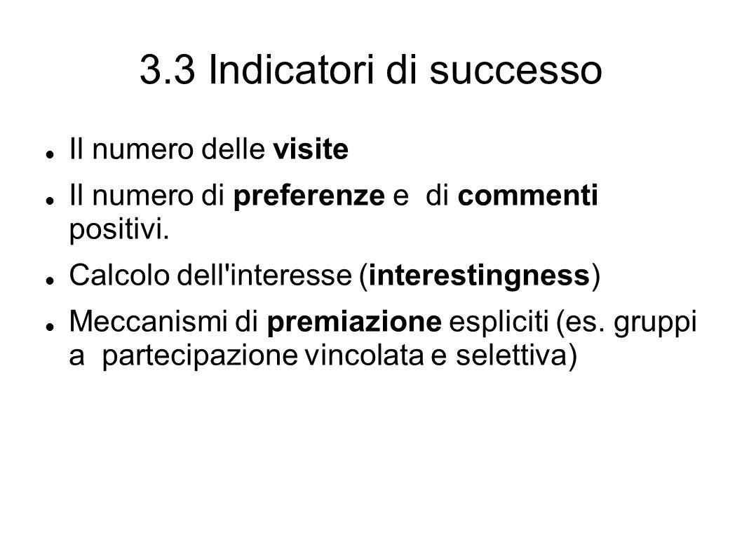 3.3 Indicatori di successo Il numero delle visite Il numero di preferenze e di commenti positivi.