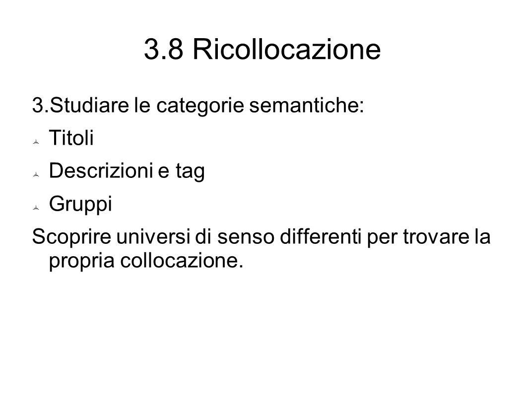 3.8 Ricollocazione 3.Studiare le categorie semantiche:  Titoli  Descrizioni e tag  Gruppi Scoprire universi di senso differenti per trovare la propria collocazione.