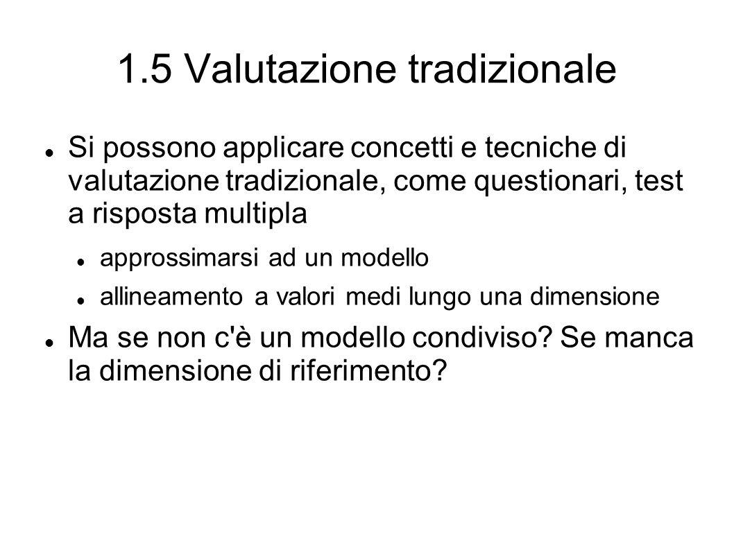 1.5 Valutazione tradizionale Si possono applicare concetti e tecniche di valutazione tradizionale, come questionari, test a risposta multipla approssimarsi ad un modello allineamento a valori medi lungo una dimensione Ma se non c è un modello condiviso.