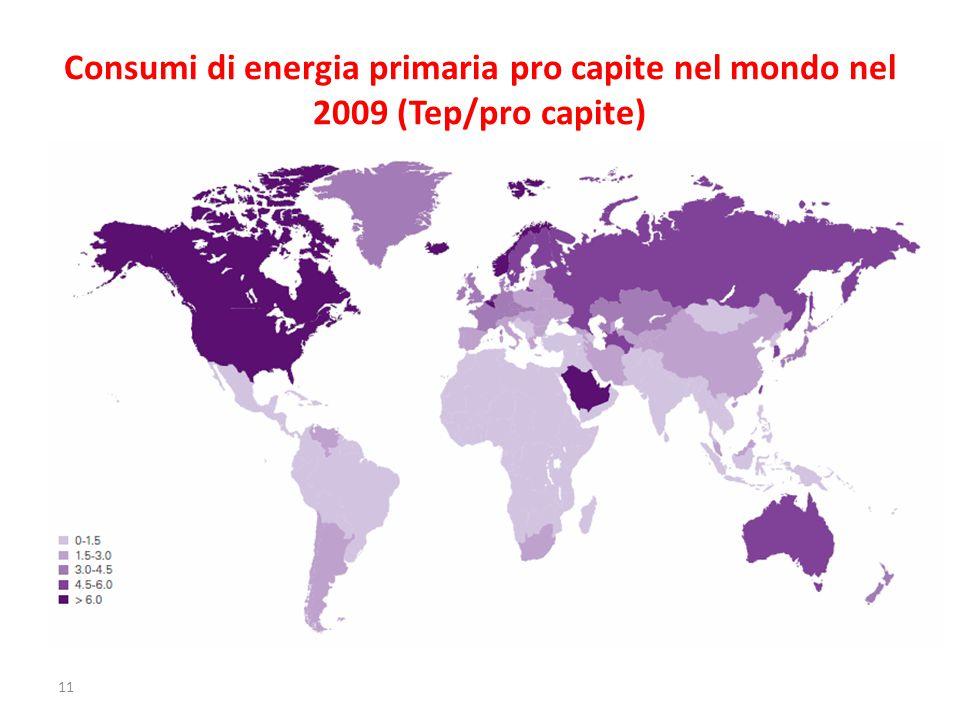 Consumi di energia primaria pro capite nel mondo nel 2009 (Tep/pro capite) 11