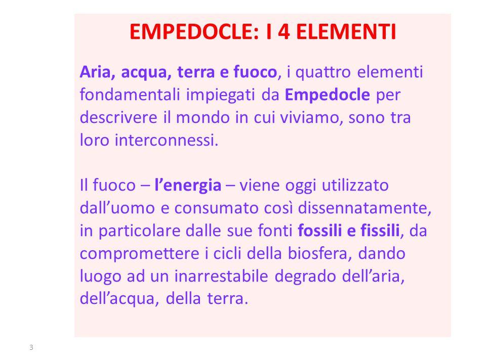 3 EMPEDOCLE: I 4 ELEMENTI Aria, acqua, terra e fuoco, i quattro elementi fondamentali impiegati da Empedocle per descrivere il mondo in cui viviamo, sono tra loro interconnessi.
