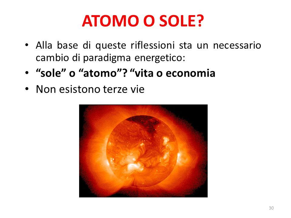 Alla base di queste riflessioni sta un necessario cambio di paradigma energetico: sole o atomo .