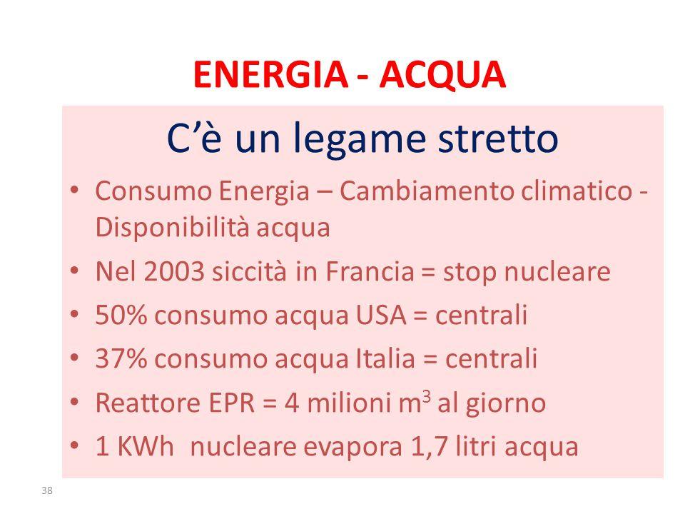 ENERGIA - ACQUA C'è un legame stretto Consumo Energia – Cambiamento climatico - Disponibilità acqua Nel 2003 siccità in Francia = stop nucleare 50% consumo acqua USA = centrali 37% consumo acqua Italia = centrali Reattore EPR = 4 milioni m 3 al giorno 1 KWh nucleare evapora 1,7 litri acqua 38