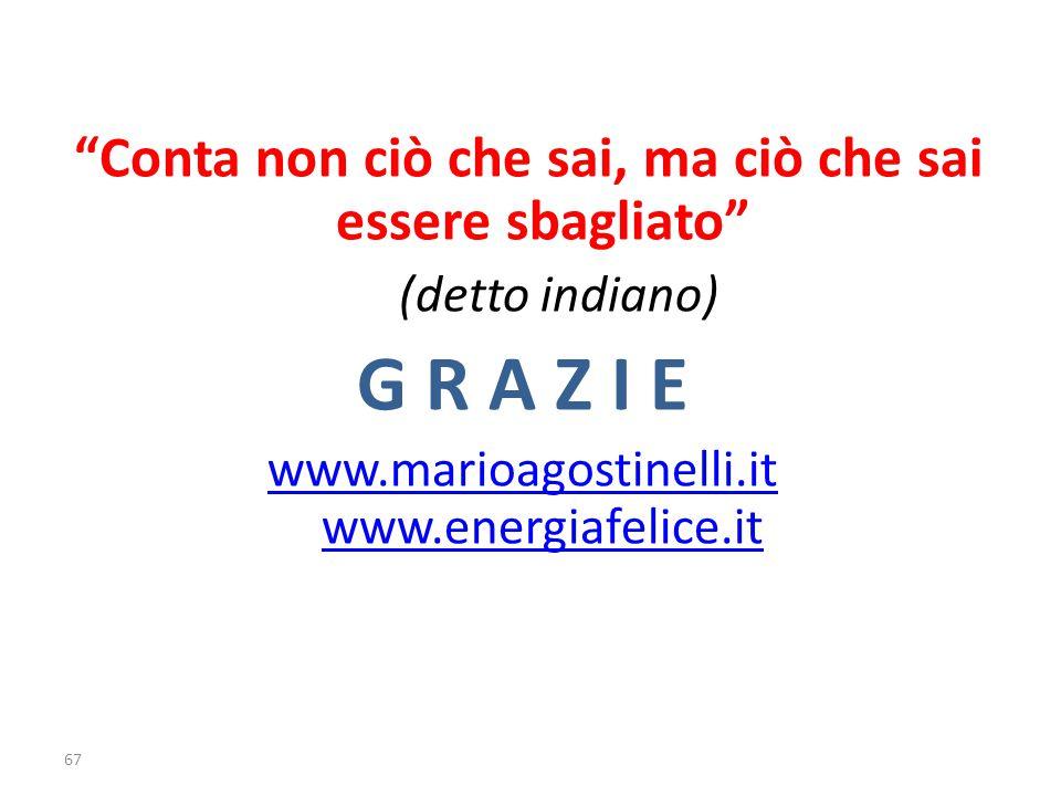 Conta non ciò che sai, ma ciò che sai essere sbagliato (detto indiano) G R A Z I E www.marioagostinelli.it www.energiafelice.it 67