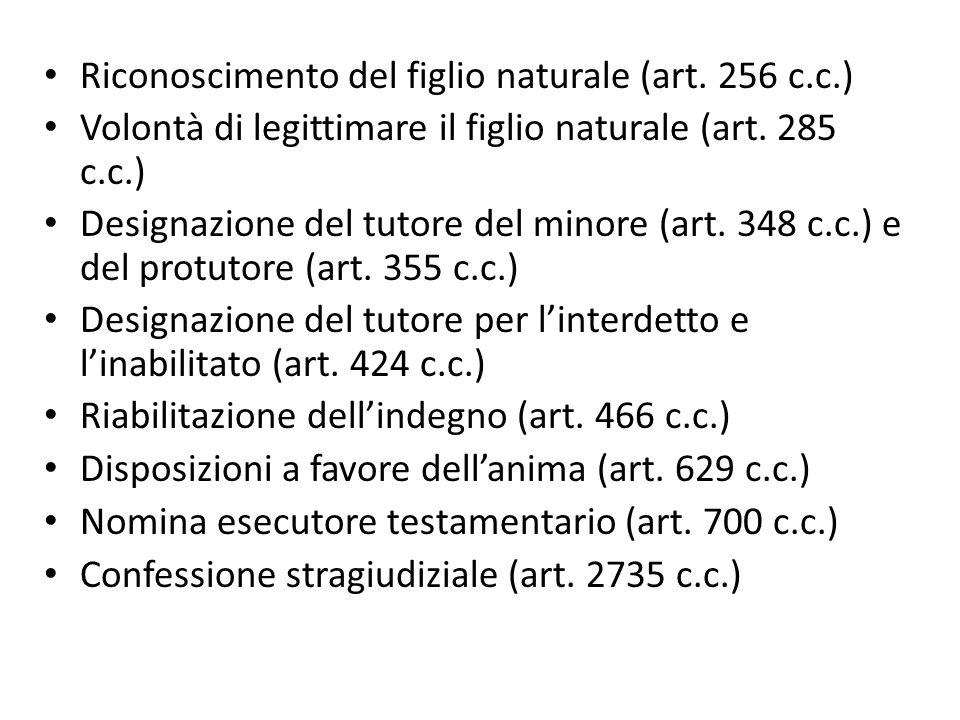 Riconoscimento del figlio naturale (art. 256 c.c.) Volontà di legittimare il figlio naturale (art. 285 c.c.) Designazione del tutore del minore (art.