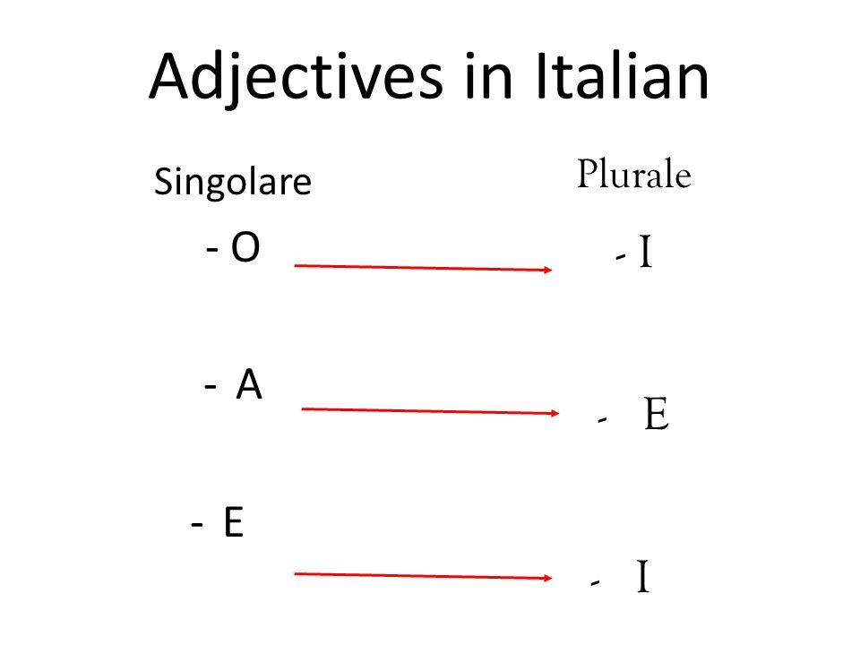 Adjectives in Italian Singolare - O -A-A -E-E Plurale - I -E-E -I-I