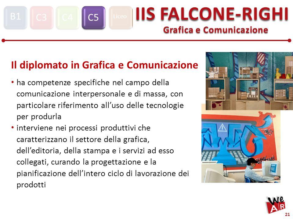 Grafica e Comunicazione C3C4C5 IIS FALCONE-RIGHI S1 B1 Liceo 21 Il diplomato in Grafica e Comunicazione ha competenze specifiche nel campo della comunicazione interpersonale e di massa, con particolare riferimento all'uso delle tecnologie per produrla interviene nei processi produttivi che caratterizzano il settore della grafica, dell'editoria, della stampa e i servizi ad esso collegati, curando la progettazione e la pianificazione dell'intero ciclo di lavorazione dei prodotti
