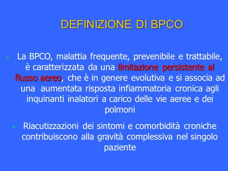 limitazione persistente al flusso aereo  La BPCO, malattia frequente, prevenibile e trattabile, è caratterizzata da una limitazione persistente al fl