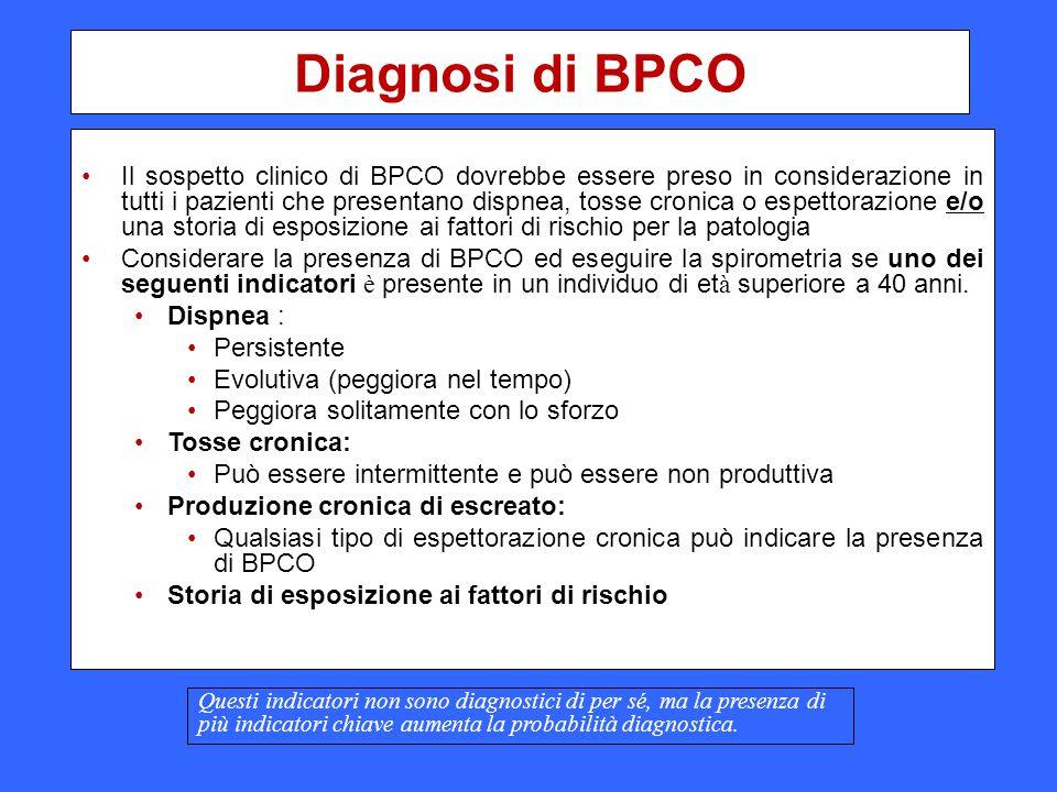 Diagnosi di BPCO Il sospetto clinico di BPCO dovrebbe essere preso in considerazione in tutti i pazienti che presentano dispnea, tosse cronica o espet
